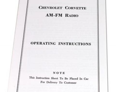 Corvette Instructions, Radio AM/FM, 1965-1967