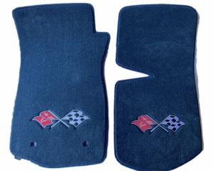 Corvette Floor Mats, 2 Piece Lloyd® Velourtex™, with Cross Flags Logo, Blue Carpet, BLEM 1968-1982