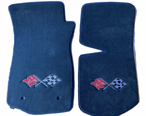 Corvette Floor Mats, 2 Piece Lloyd® Velourtex™, with Cross Flags Logo, Blue Carpet, BLEM 1968-1982