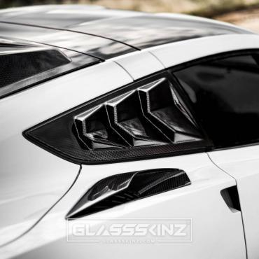 GlassSkinz 2014-19 Corvette Bakkdraft Quarter Louvers C7BAKKDRAFT-QTR WINDOW   Watkins Glen Gray G7Q