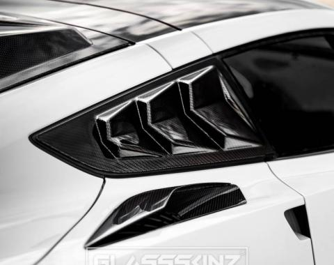 GlassSkinz 2014-19 Corvette Bakkdraft Quarter Louvers C7BAKKDRAFT-QTR WINDOW | Black Gloss Gba GB8