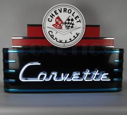 Neonetics Big Neon Signs in Steel Cans, Art Deco Marquee Corvette Neon Sign in Steel Can