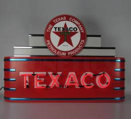 Neonetics Big Neon Signs in Steel Cans, Art Deco Marquee Texaco Motor Oil Neon Sign in Steel Can