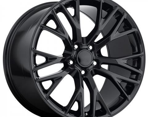 Factory Reproductions C7 Corvette Wheels 20X12 5X4.75 +59 HB 70.3 2015 C7 Z06 Gloss Black With Cap FR Series 22 22012593402