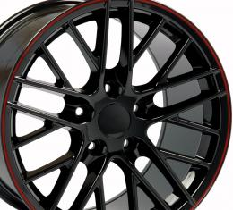 "17"" Fits Chevrolet - C6 ZR1 Wheel - Black Red Band 17x9.5"
