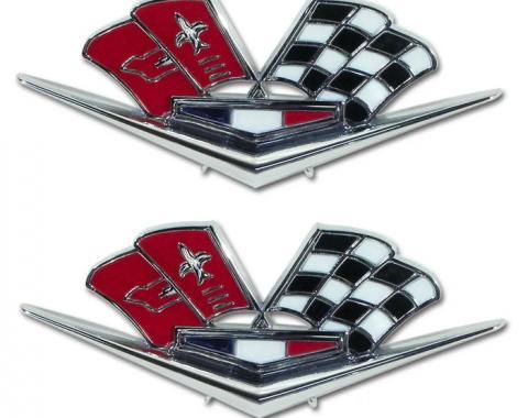 Trim Parts 63 Late Corvette 66 Front Fender X-Flag Emblem, Pair 5218