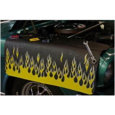 Fender Gripper® Cover, Black With Flames, Yellow/Siver