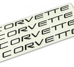 Corvette Wheel Spoke Decal Set, Corvette Black, 2000-2004