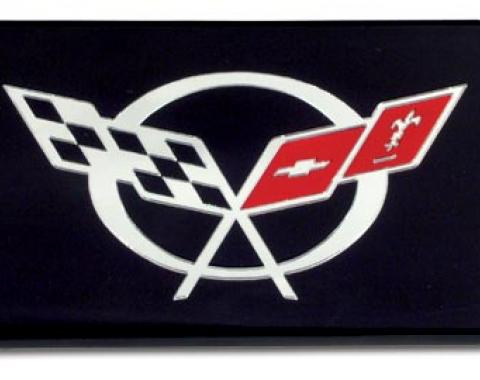 Corvette Exhaust Plate, Black with C5 Logo, 1997-2004