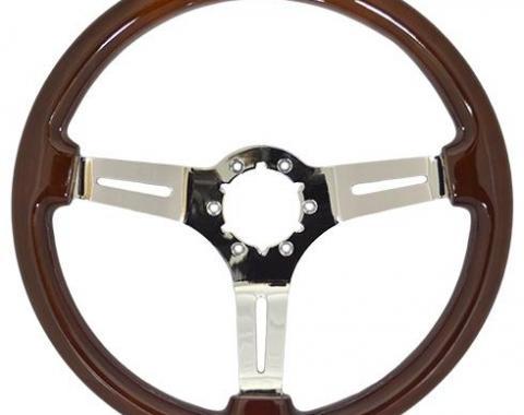 Volante S6 Sport Steering Wheel, with Chrome Spokes & Mahogany Grip
