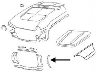 Corvette Radiator Support Bonding Strip, Right Side, 1956-1957