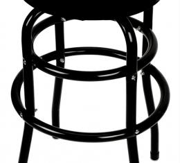 Checker Flag Swivel Bar Stool with Black Steel Legs