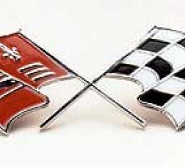 Corvette Crossed-Flags Emblems, Side Fender, 1957-1960