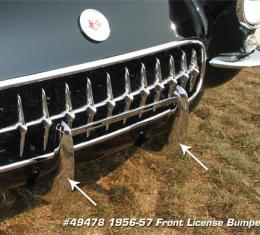 Corvette Front License Bumpers, (53-55 Replacement), 1953-1957