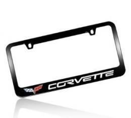 Corvette Elite License Frame, 05-13 Corvette Word with Single Logo Black