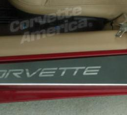 Corvette Sill Covers - Outer - Plshd with Logo, 1997-2004