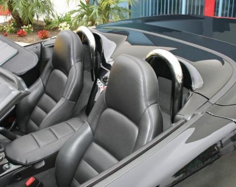 Corvette Convertible Seat Back Hoops, Chrome, 2005-2010