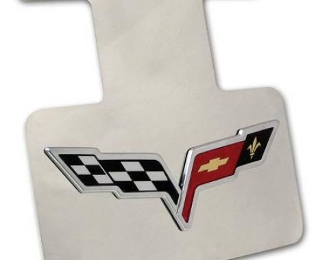Corvette Exhaust Plate, Stainless Steel with 3D C6 Emblem, 2005-2013