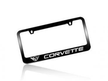 Corvette Elite License Frame, 97-04 Corvette Word with Single Logo Black