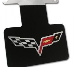 Corvette Exhaust Plate, Stainless Steel & Black with C6 Emblem, 2005-2013
