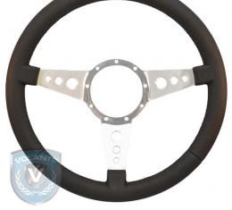 Volante S9 Premium Steering Wheel, Black Leather and Brushed Center, 3 Spoke with Holes