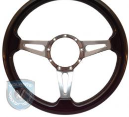 Volante S9 Premium Steering Wheel, Black Wood and Brushed Center, 3 Spoke with Slots