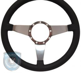 Volante S9 Premium Steering Wheel, Black Leather and Brushed Center, 3 Spoke