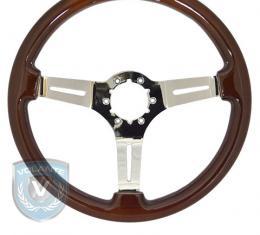 Volante S6 Sport Steering Wheel, Wood with Chrome Center, 3 Spoke