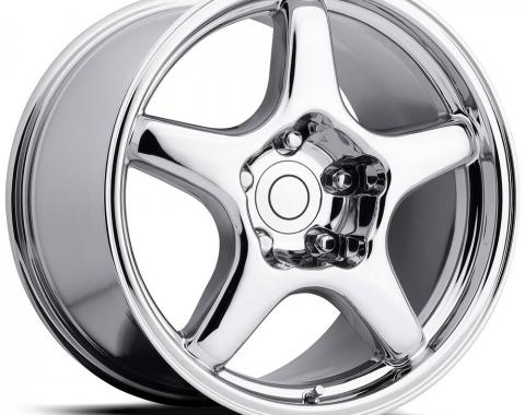 """Corvette ZR1 Style Wheel, Reproduction, 17"""" x 9.5"""" x 38mm, Front or Rear, Chrome, 1984-1987"""