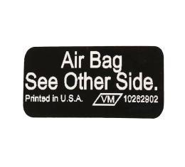 Corvette Sunvisor Air Bag Warning Label, 1990-1996