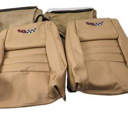 "Corvette America 1979-1980 Chevrolet Corvette Embroidered Leather Seat Covers 100% Leather 4"" Bolster 420250E   78-80 Doeskin"
