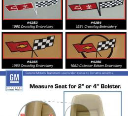 """Corvette America 1979-1980 Chevrolet Corvette Embroidered Leather Seat Covers 100% Leather 2"""" Bolster 420066E   79-80 Oyster"""