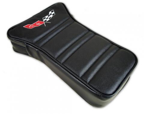 Corvette America 1968-1978 Chevrolet Corvette Center Armrest Embroidered Leather 414920E | 59-96 Black