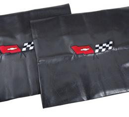 Corvette America 1968-1982 Chevrolet Corvette Embroidered T Top Bags Black with 1982 Crossed Flags Logo 41616