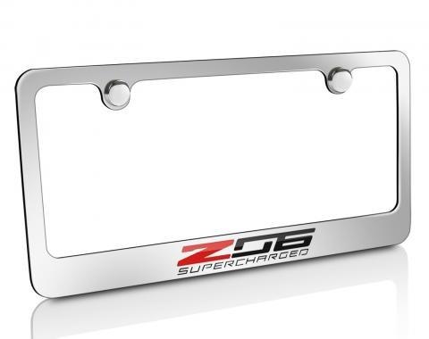 Corvette Elite License Frame, C7 Z06 Supercharged Script