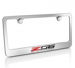 Corvette Elite License Frame, C7 Z06 Supercharged Script