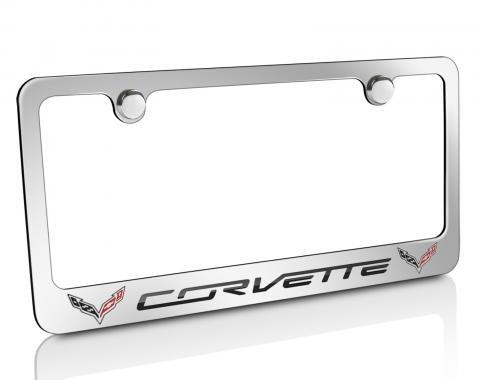 Corvette Elite License Frame, C7 Corvette Script with Double Logo