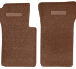 Corvette Floor Mats, 2 Piece ACC Loop, with Embossed Emblem, Dark Saddle (54), 1963-1967