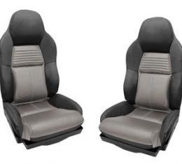 Corvette America 1994-1996 Chevrolet Corvette Mounted Leather Seat Covers Black / Gray 2 Tone Standard 45091