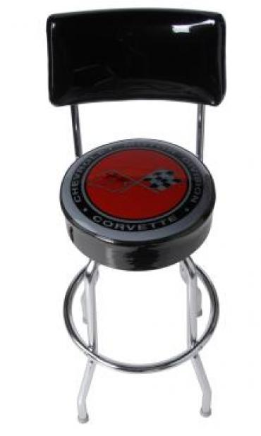 Corvette Stool, Black with Back Rest, C3 Emblem