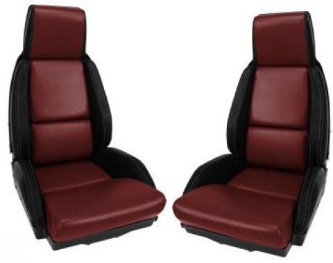 Corvette America 1984-1985 Chevrolet Corvette Mounted Leather Seat Covers Black / Dark Red 2 Tone Standard 45080