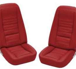 Corvette America 1977-1978 Chevrolet Corvette Embroidered Leather Seat Covers Leather/Vinyl Original 419724E | 77-81 Red