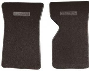 Corvette Floor Mats, 2 Piece ACC Loop, with Embossed Emblem, Dark Brown (55), 1976