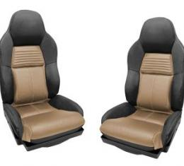 Corvette Mounted Leather Seat Covers, Two Tone Standard, 1994-1996