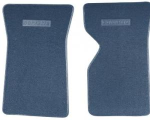 Corvette Floor Mats, 2 Piece ACC Loop, with Embossed Emblem, Royal Blue (47), 1971-1972