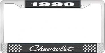 OER 1990 Chevrolet Style # Black and Chrome License Plate Frame with White Lettering LF2239004A