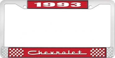 OER 1993 Chevrolet Style # 5 Red and Chrome License Plate Frame with White Lettering LF2239305C