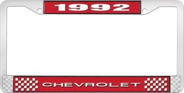 OER 1992 Chevrolet Style # 1 Red and Chrome License Plate Frame with White Lettering LF2239201C