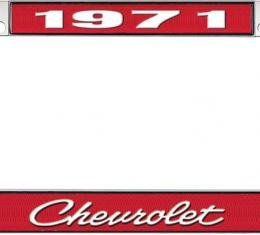 OER 1971 Chevrolet Style #4 - Red and Chrome License Plate Frame with White Lettering *LF2237104C