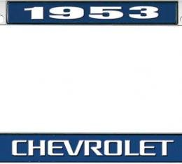 OER 1953 Chevrolet Style #3 Blue and Chrome License Plate Frame with White Lettering LF2235303B